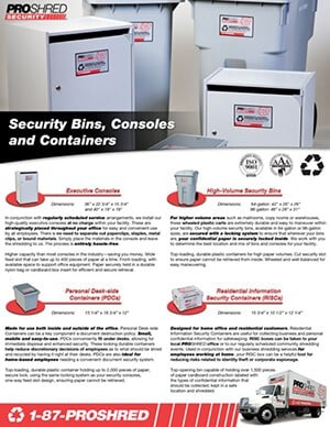 Bins and consoles flyer