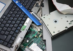 Computer hard drive and other components destroyed.